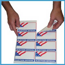 ELECTION OFFICIAL Self-Adhesive Name Badge Mini-Packs