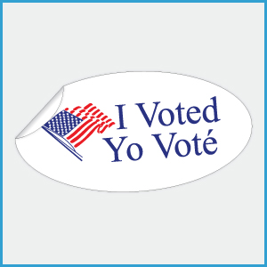 I Voted Yo Voté Stickers, 1-3/4