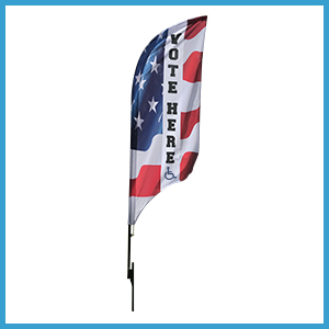9' VOTE HERE Blade Flag Sets w/ HCP Symbol