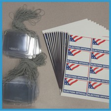 ELECTION OFFICIAL Neck Cord Name Badge Kits